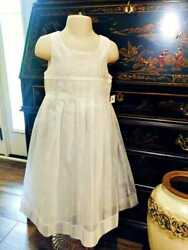 Luli & Me Dress Girls Toddler White Special Occasion Beach Poly Linen Size 4 NWT $36.88