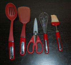 Kitchen Aid Kitchen Red Tools Lot Scissor Brush Spatula See All Photos $53.95