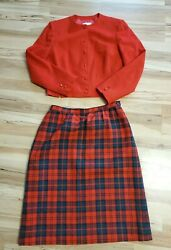 Vintage Pendelton Womens Red and Plaid Skirt And Blazer Set Size 16 9 $39.99