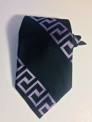 BOLD Vintage Polyester Neck TIE BLACK PURPLE Sears Wide 4quot;💥 $17.89