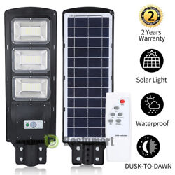 Outdoor Commercial LED Solar Street Light IP67 Dusk to Dawn Sensor Lamp 10000LM