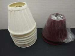 Lot of 7 Candle Lamp Chandelier Shades Pleated Cloth Bulb Clamp Ivory 2 Burgundy $21.99