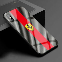 iPhone case supercar exotic carbon fiber print tempered glass cover $17.99