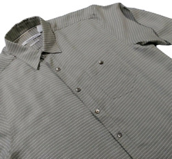 Axis Mens Large Shirt Checkered Tan Dress Long Sleeve Button Front 02S $10.39