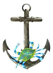 Maryland Blue Crab on Ships Anchor Haitian Metal Art Wall Decor 18 Inches $48.88