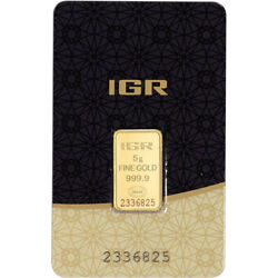 5 gram IGR Gold Bar - Istanbul Gold Refinery - 999.9 Fine in Sealed Assay $323.83
