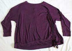 Mix by 41 Hawthorn Plus Women#x27;s Orly Ruched Side Knit Top TM8 Purple Size 3X NWT $21.99