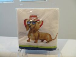 40 Dachshund Beverage 3 Ply Napkins Summer Sun Beach Hat with Glasses NEW $6.99