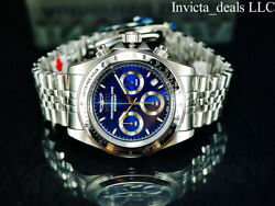 Invicta Men's 40mm SPEEDWAY DRAGSTER Chrono Blue Dial Silver Tone SS 200M Watch $72.99