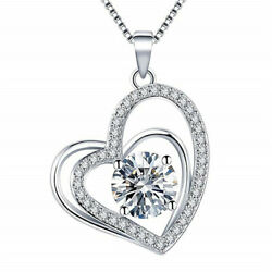 Classic 925 SilverGold Necklace Pendant Women White Sapphire Wedding Jewlery