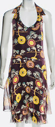 $4k CHANEL 01p Vintage Logo CC Print Maxi Long DRESS 36 38 40 2 4 6 8 Top Shirt