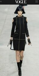 $6200 NEW CHANEL 2014 BLACK Cold Shoulder 14p DRESS 4 6 36 38 4 6 8 Top Shirt S
