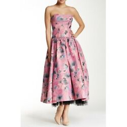 Rebecca Taylor Dress Gown Size 8 Runway Floral Pink Brocade New MSRP $1095
