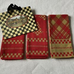 3 MacKenzie Childs Christmas Towels Dish Kitchen Red Khaki Holiday New W O Tags $39.27