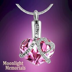 New Always in My Heart Pink Crystal Cremation Urn Ashes Memorial Necklace
