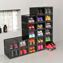 Mens Shoes Box Plastic Stackable Sneaker Container Storage Heavy Duty Organizer $29.99