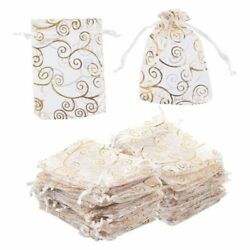 120 Gold Swirl Organza Wedding Party Favor Gift Bags Candy Sheer Jewelry Pouches $12.99