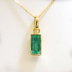 2.32ct Natural Colombian Emerald Pendant in 18K Yellow Gold