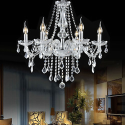 Chandelier for Dining Rooms Elegant Crystal Ceiling Vintage Light 6 Arms Fixture $127.45