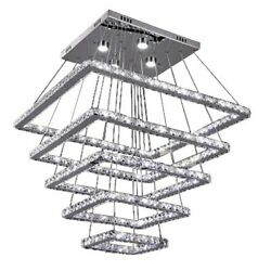 LED Crystal Chandelier Lights Ceiling Fixtures Stainless Steel Home Hanging Lamp $2080.99