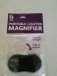 Great Point Light Portable LED Lighted Magnifier * Folds to Store *  Blk $8.00