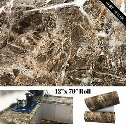 Brown Marble Granite Contact Paper Countertop Vinyl Self Adhesive Film Counter $16.99