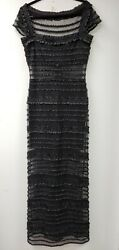 RARE~TADASHI~BLACK* LONG NETTED RUFFLED ILLUSION+above knee~SEE MEASTAG 12(10?)