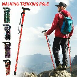 Folding Walking Stick Telescopic Adjustable Antishock Hiking Grip Pole Trekking $16.39
