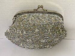 Clutch purse evening bag small with handle Metallic Silver sequin beads shiny $22.00
