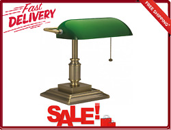 CFL Bankers Desk Lamp With Green Glass Shade V-Light Traditional Antique Bronze $50.94
