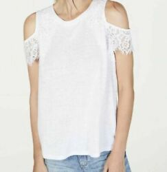 INC International Concepts White Lace Linen Blend Cold Shoulder Top - MEDIUM