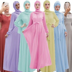 Women Muslim Chiffon Long Sleeve Maxi Dress Ramadan Islamic Abaya Kaftan Robe $43.79