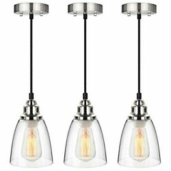 Industrial Mini Pendant Lighting Clear Glass Shade Hanging Light Fixture 3 Pack $61.94