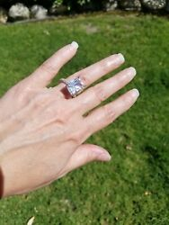 Lajerrio Radiant Cut White Sapphire Sterling Silver Ring Size 5.5 $75.00