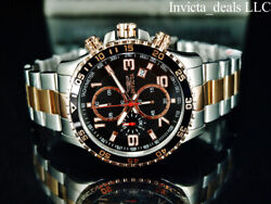 Invicta Mens 45mm PILOT Specialty Chrono Black Dial 18K Rose Gold 2Tone SS Watch $74.99