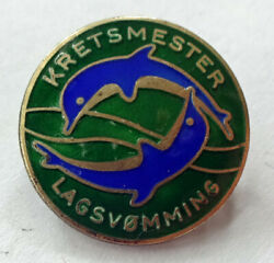 District swimming champion for teams SILVER pin badge Norway $20.00