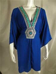 VENUS ROYAL BLUE BEADED BELTED BATHING SUIT COVER UP DRESS PLUS 3X $22.99