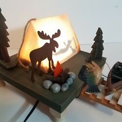 Fisherman Camping Lamp for Man Cave Cabin Hunting Lodge Farmhouse Rustic Decor $29.10