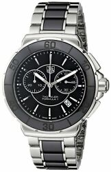 Tag Heuer Women's 'Formula 1' Stainless Steel Black Ceramic Chronograph Watch...