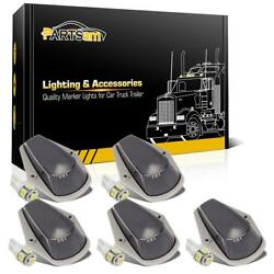 5x Smoke Cab Roof Marker Lights w T10 5050 White LED For Ford F 150 250 350