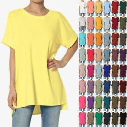 TheMogan S XL Casual Round Neck Rolled Short Sleeve Loose fit Tunic Top Tee $15.99