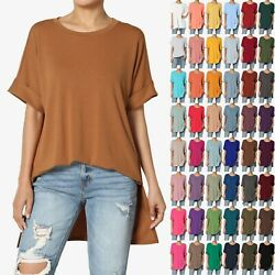 TheMogan PLUS Casual Round Neck Rolled Short Sleeve Loose fit Tunic Top Tee $14.99