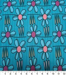 NEW Novelty Cotton Fabric Large Daisys By the Half Yard 100% Cotton DIY CRAFTS $3.99