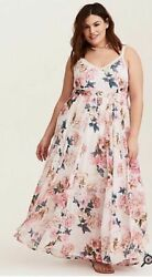 TORRID Womens Runway Collection Ivory Floral Crochet Maxi Dress 1 or 1X