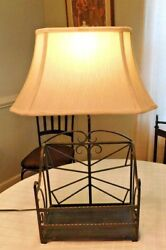 Desk lamp cast iron with built-in basket & fabric shade student light table lamp $35.00