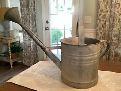 "Vintage French Metal Zinc Long Reach Watering Can 3 Gallon 20"" Spout $65.00"