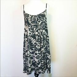 Roxy Size Large Dress Hawaiian Black White Beach Summer Short Casual Dress $45.00