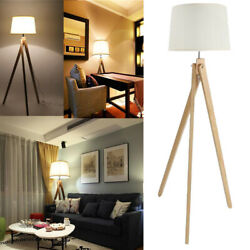 LED Tripod Floor Lamp Modern Design Wood Mid Century Light Contemporary Rustic $85.99