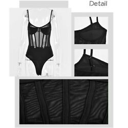 Black Skinny Lace Bodysuit Women Backless See-Through Bodycon Jumpsuit Female... $29.99
