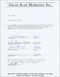 JOE DIMAGGIO - CONTRACT SIGNED 07161991 WITH CO-SIGNERS $900.00